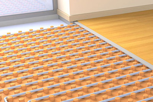 Hydronic Heating Grpahic showing the system placed under hardwood floor